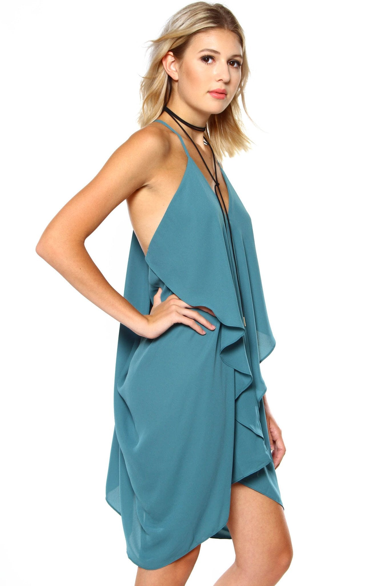 Take The Plunge Dress - Agave Blue