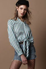 Motel Lauv Knotted Top - Teal Stripe
