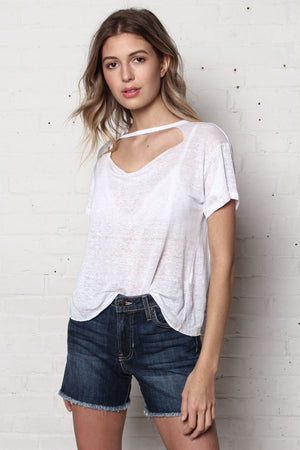 Cool It Linen Choker Tee - White