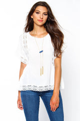 BB Dakota Arlene Lace Trim Top