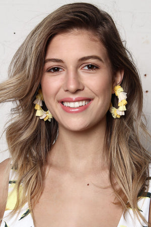 Raffia Hoops - Yellow