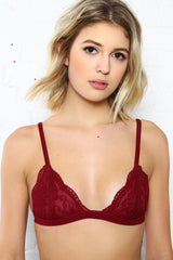 Lace Triangle Bralette - Burgundy