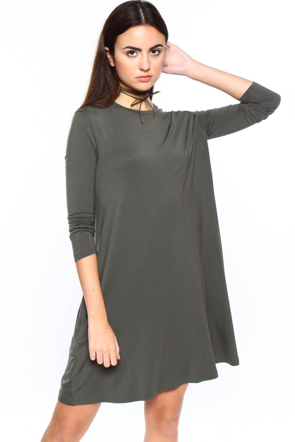 Full Swing Casual Tee Shirt Dress - Army