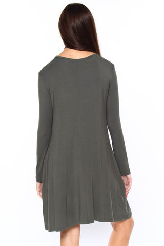 Full Swing Tee Dress - Army