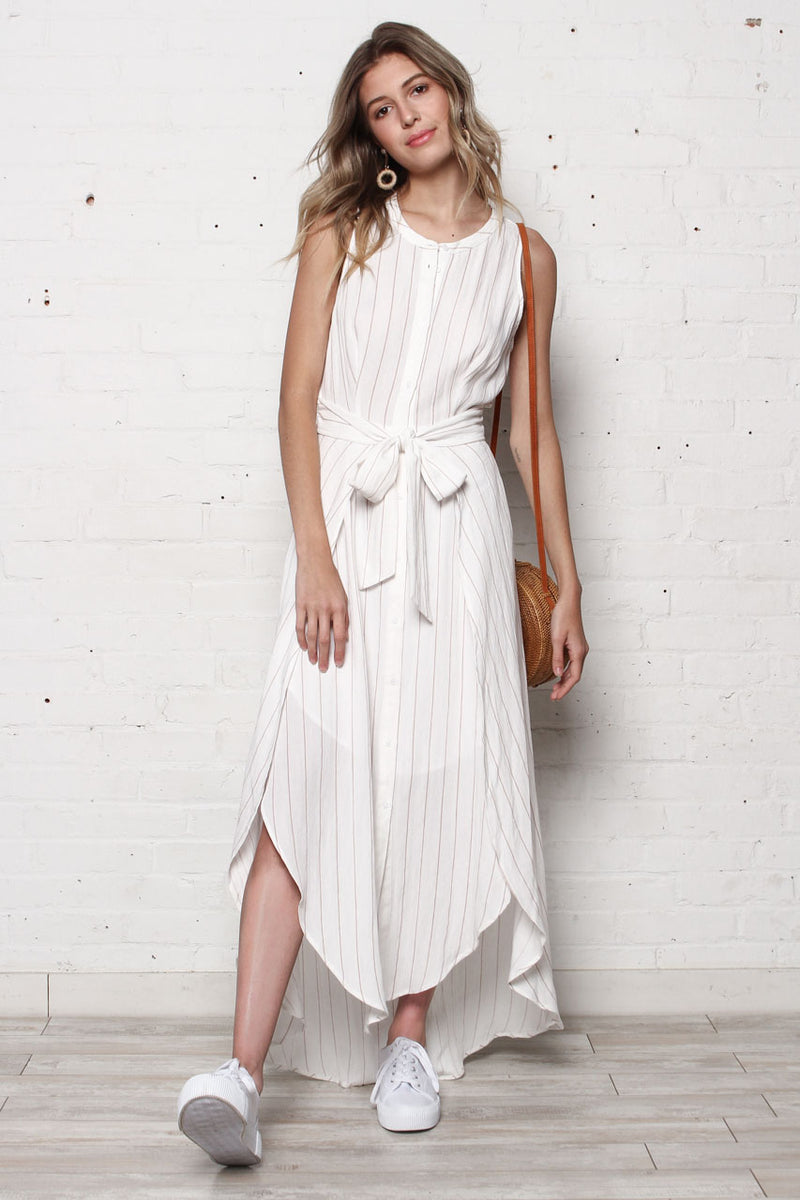 Astr The Label Arya Tie Waist Dress - White & Tan Stripe