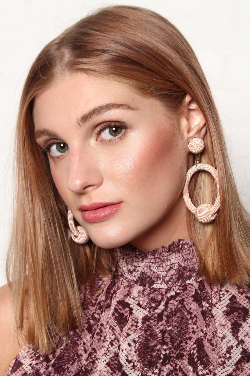 Wrapped Hoop Statement Earrings - Blush