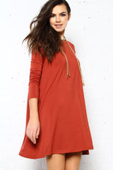 Full Swing Tee Dress - Rust