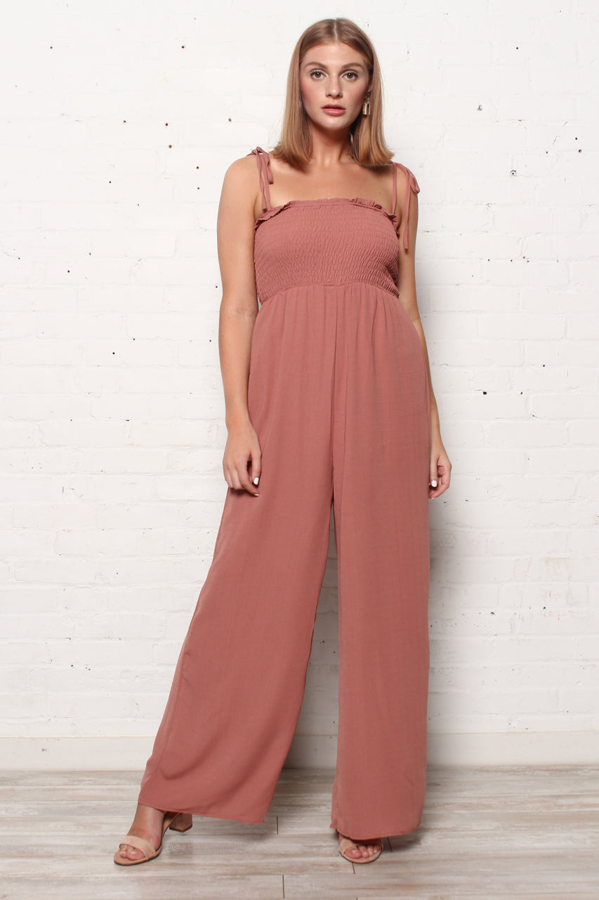Shoulder Tie Smock Jumpsuit - Cinnamon