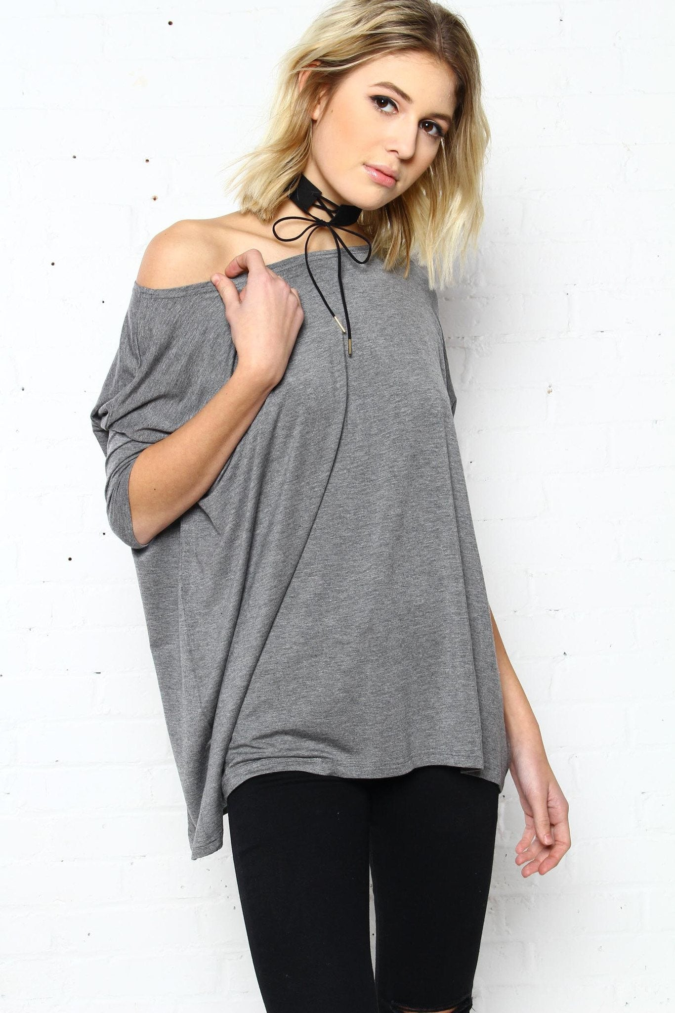 Let It Drop Scoop Tee - Heather Gray