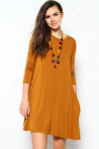 Full Swing Tee Dress - Mustard