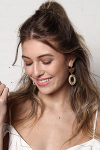 Hemp Wrapped Circle Statement Earrings