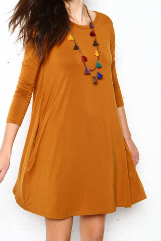 Full Swing Casual Tee Shirt Dress - Mustard