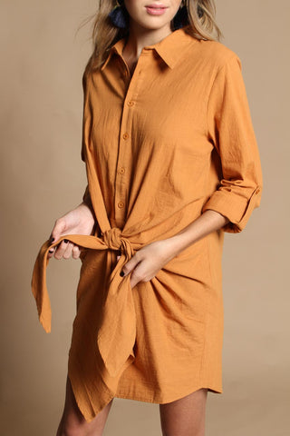 Reverse Wrap City Shirt Dress