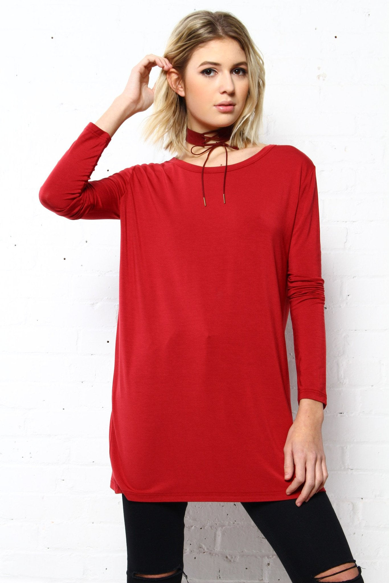 Fall In Line Bamboo Tee - Wine