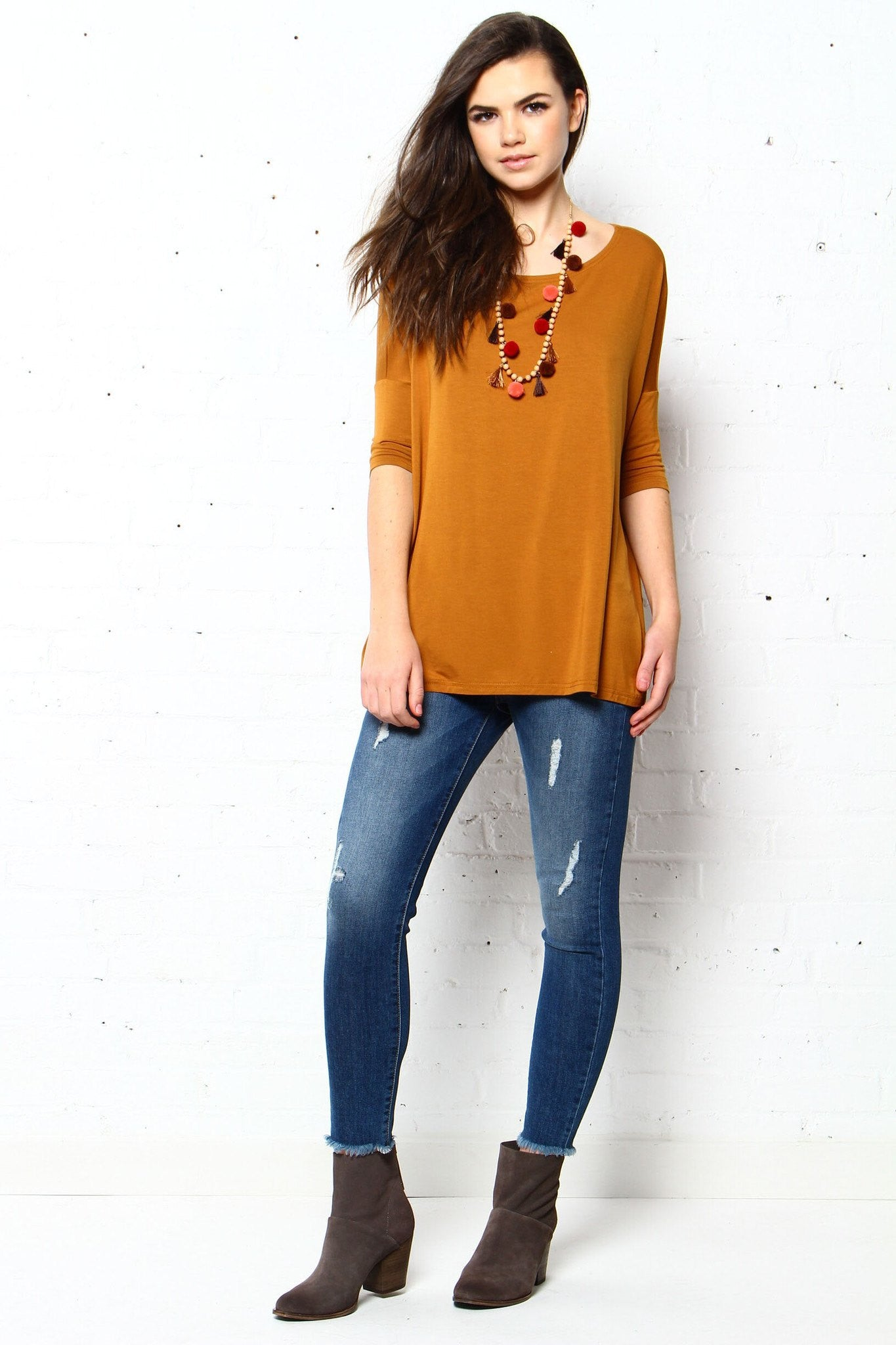 Let It Drop Scoop Tee - Mustard
