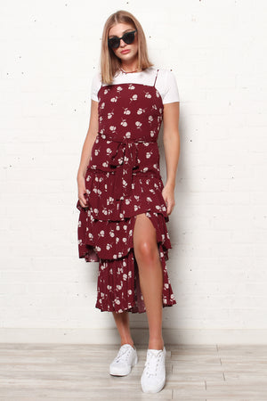 Ruffle Hem Midi Dress