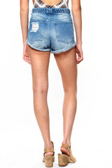 Braided Denim Shorts