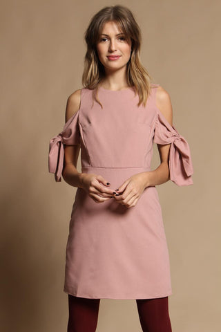 Tied Up Cold Shoulder Dress - Blush