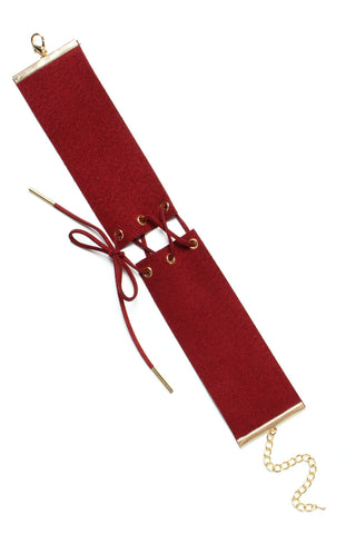 Bound To You Corset Choker - Burgundy