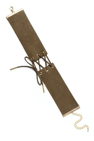 Bound To You Corset Choker - Olive