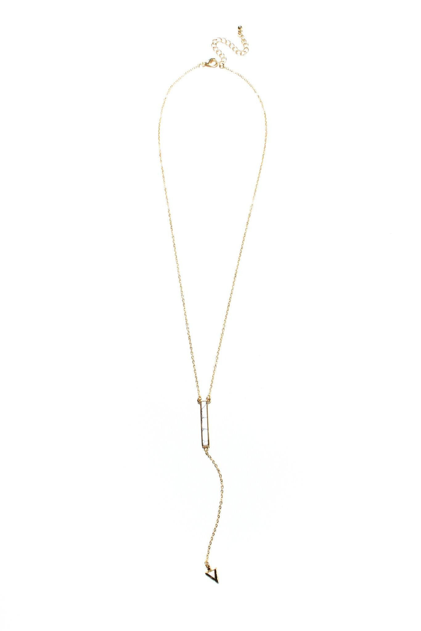 One Way Lariat Necklace - White