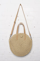August Round Straw Tote Bag - Tan
