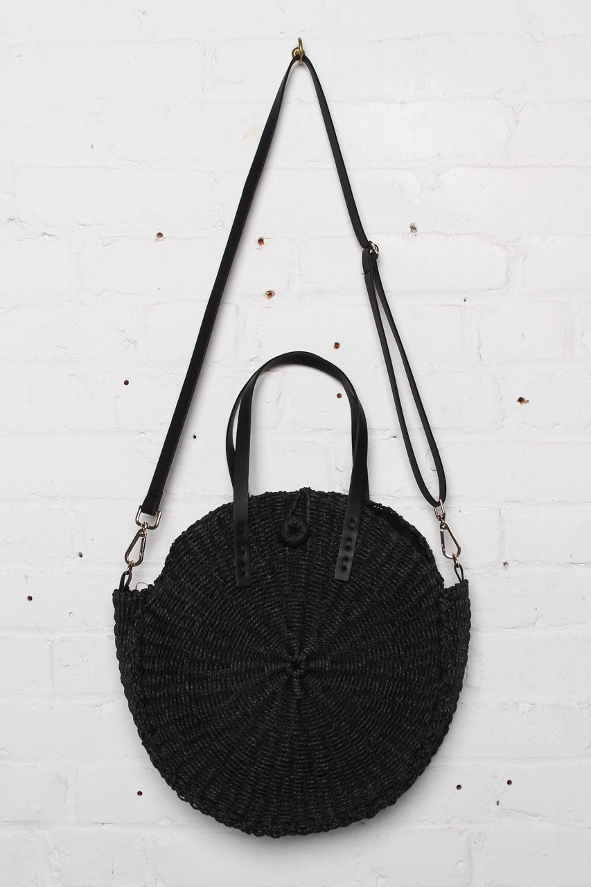 August Round Straw Tote Bag - Black