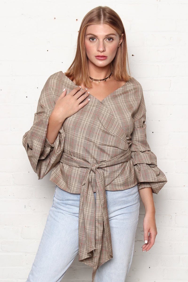 That's A Wrap Statement Sleeve Top - Plaid
