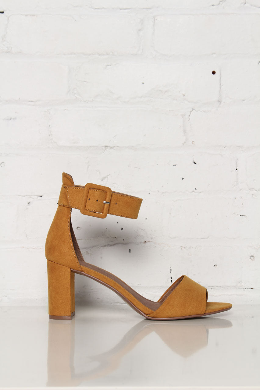 Chinese Laundry Rumor Ankle Strap Suede Heel - Yellow - Calico