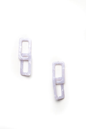Acrylic Link Earrings - Gray