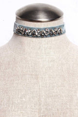 Valentina Jeweled Choker - Steel
