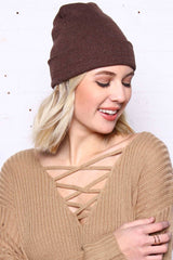 Take Cover Ribbed Beanie - Brown