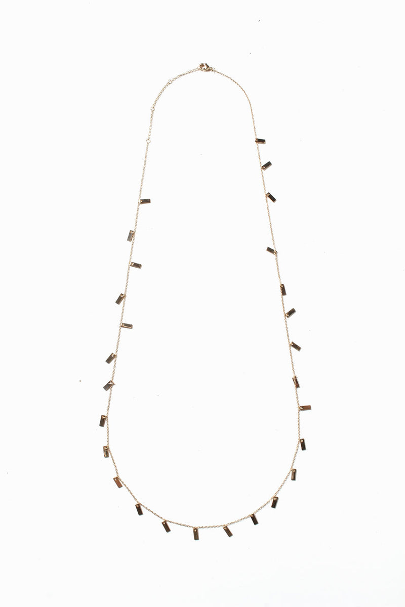 Tiny Bar Chain Necklace - Gold