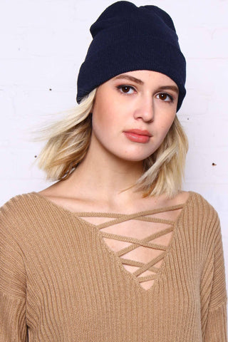 Take Cover Ribbed Beanie - Navy