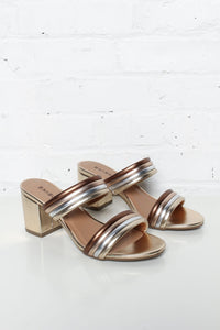 Warner Striped Block Heel Mule Sandal - Gold