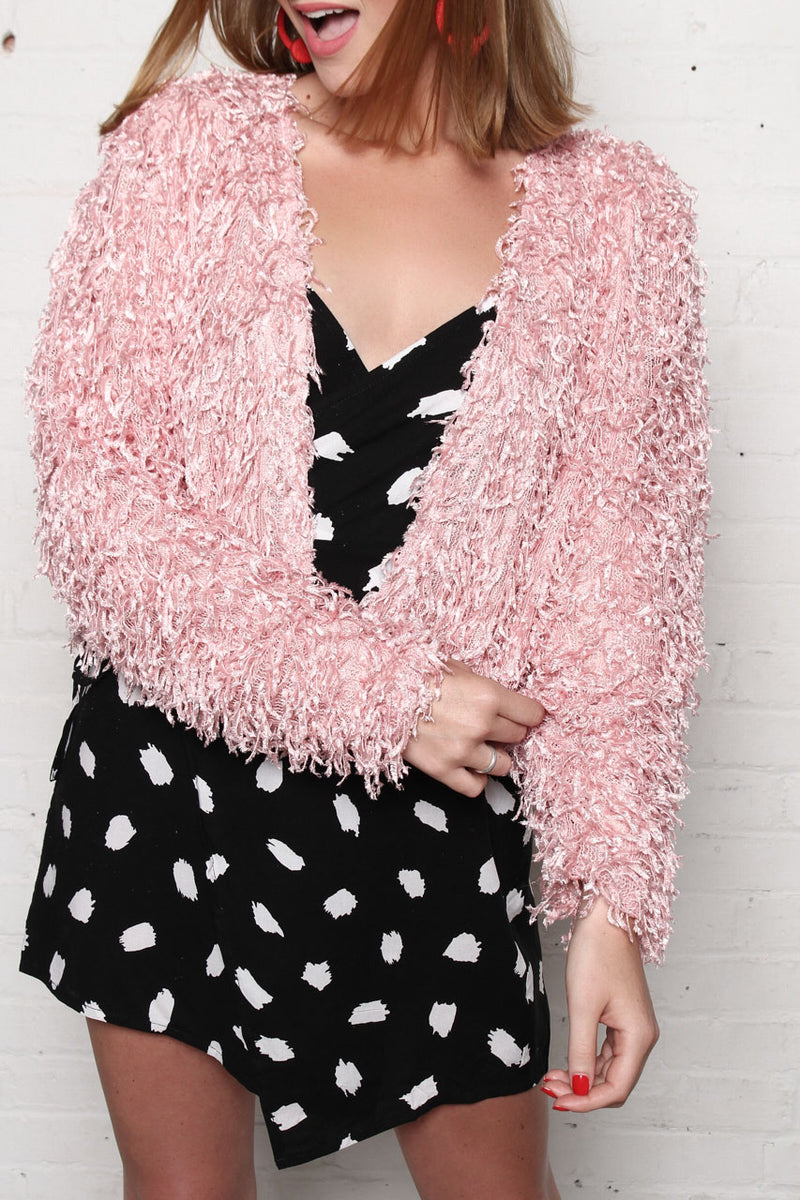 Motel Gasta Shaggy Faux Fur Jacket - Pink