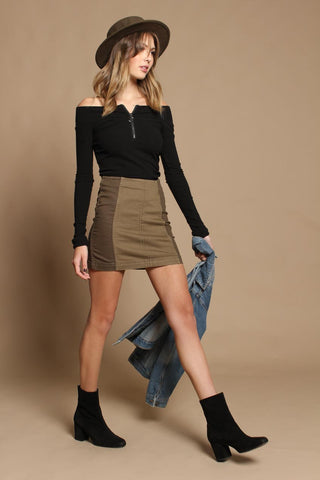 Free People Modern Femme Mini Skirt - Olive