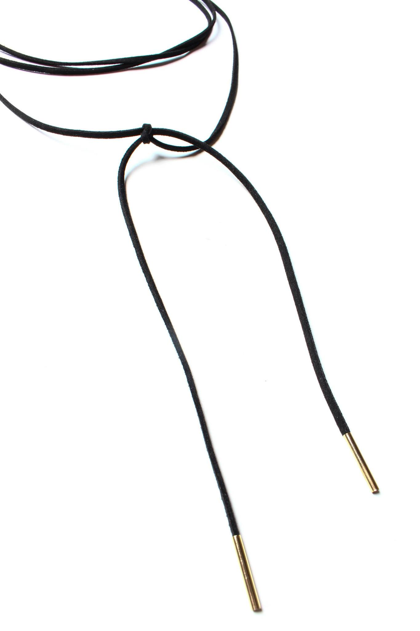 Wrap Up Bolo Necklace - Black/Gold
