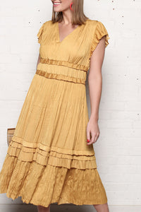 Marigold Pleated Midi Dress
