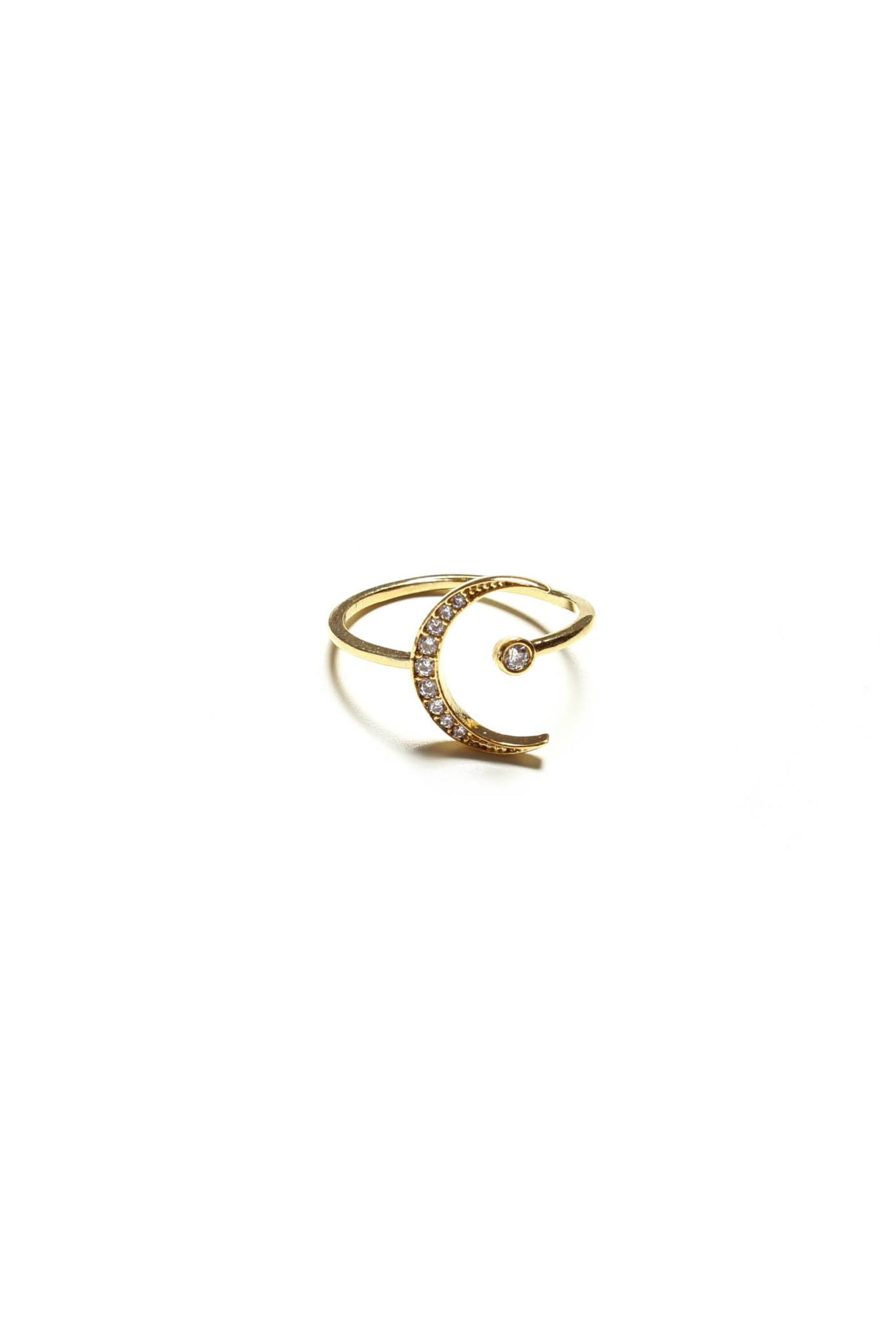 Moon And Star Ring - Gold