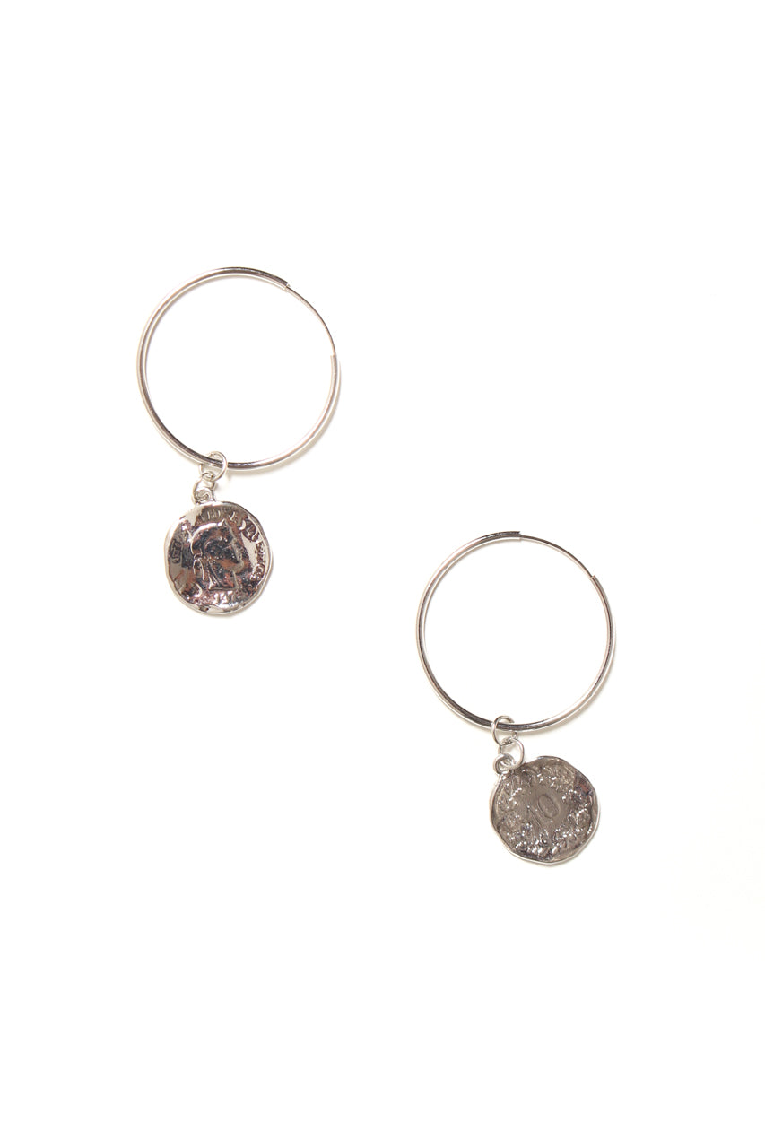 Coin Hoop Earrings - Silver