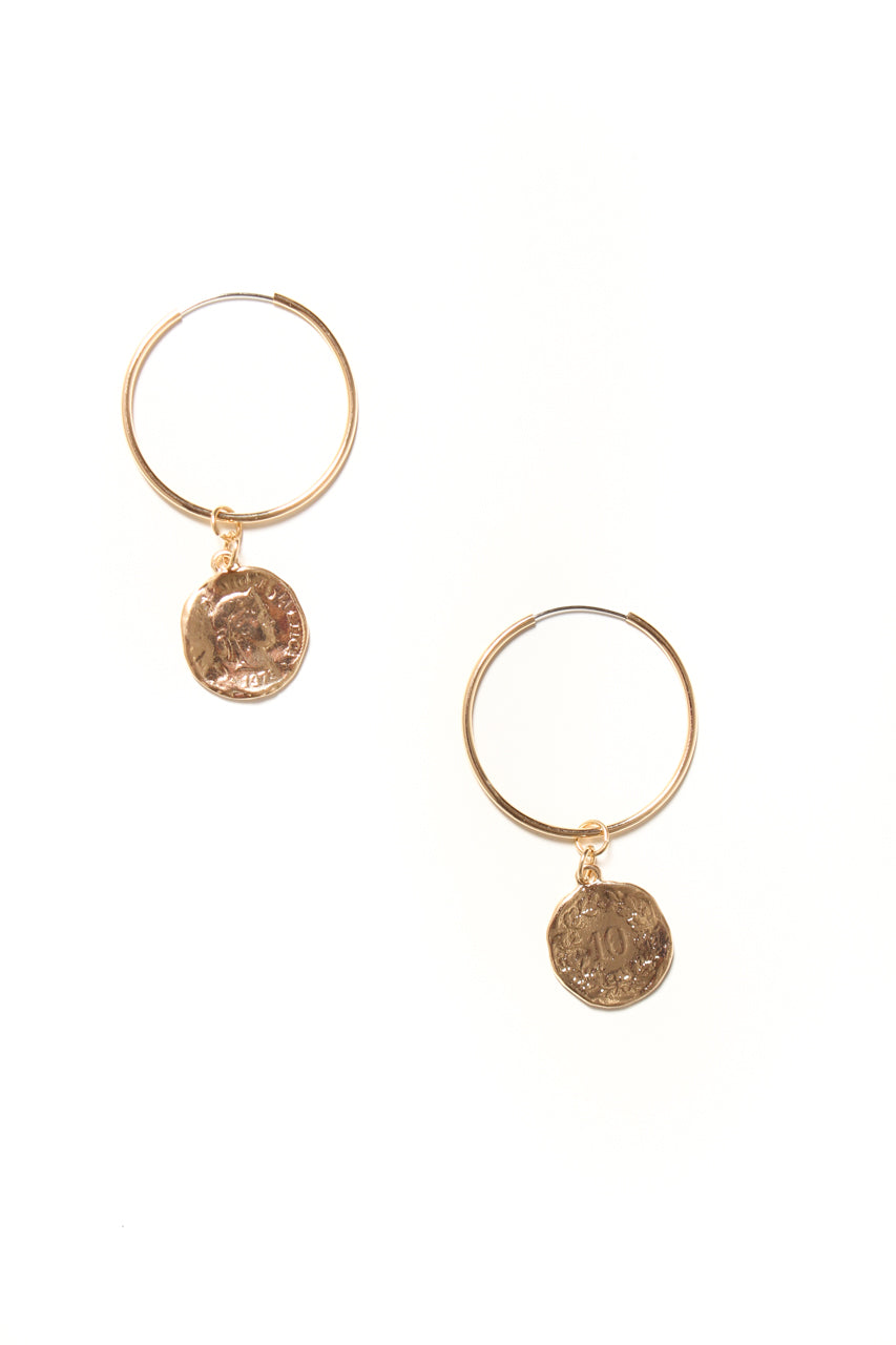 Coin Hoop Earrings - Gold