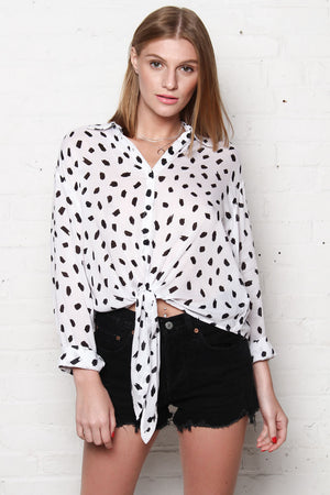 Motel Lauv Knotted Top - Dot