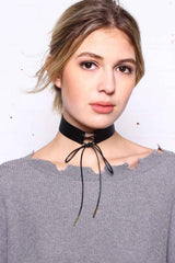 Long Gone Lace Up Choker