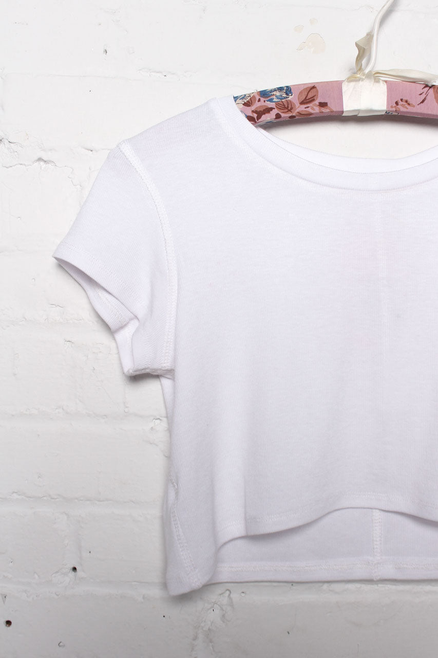 Ribbed Crop Tee - White