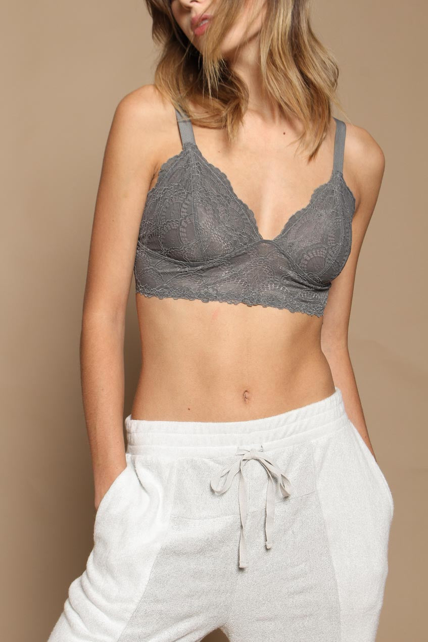 Free People Let Me Kiss You Soft Bra - Graphite