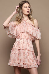 Sami Off The Shoulder Ruffle Halter Dress - Blush