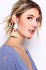 Hang Of It Tassel Earrings - Tan