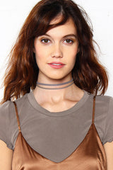 Double Time Leather Choker - Gray