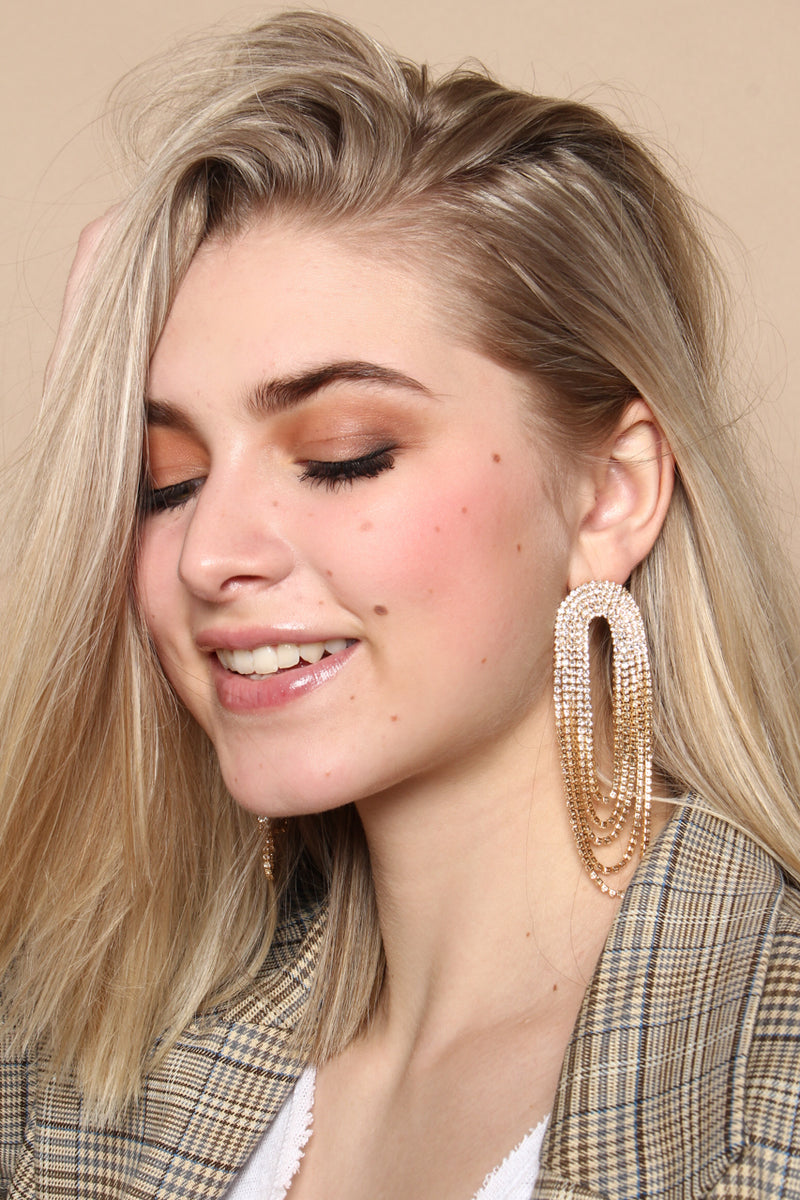 Rhinestone Arc Statement Earring